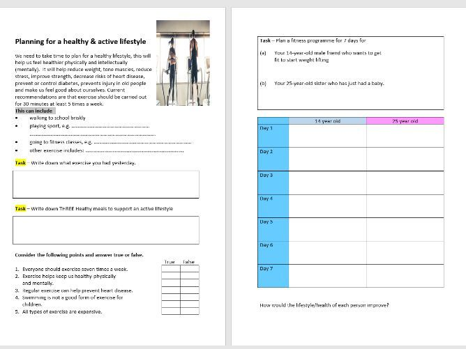 Planning a Health & Active Fitness Programme Worksheet Lesson Task - Cover - Sport/Food