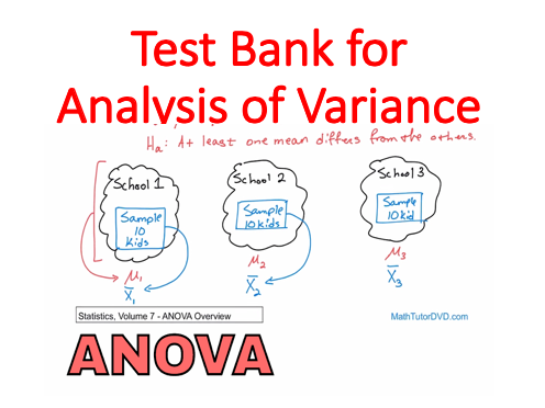 Test Bank for Analysis of Variance (Elementary Statistics Module)