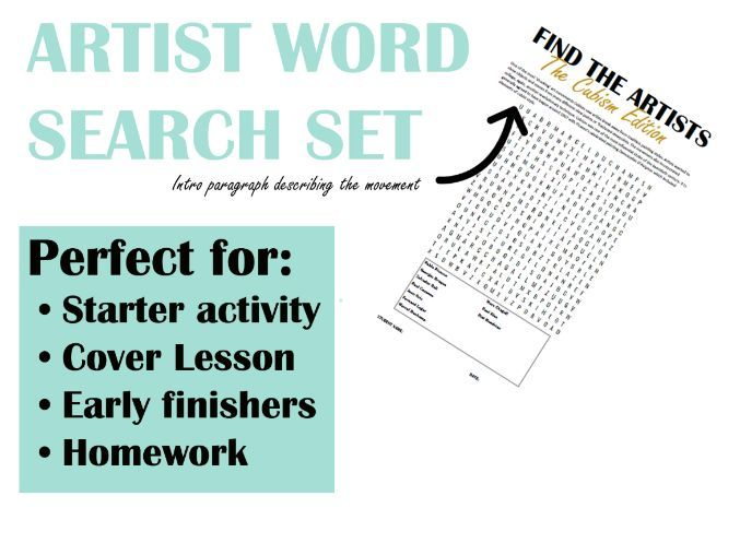 Cubism Art Word Search with anwer sheet