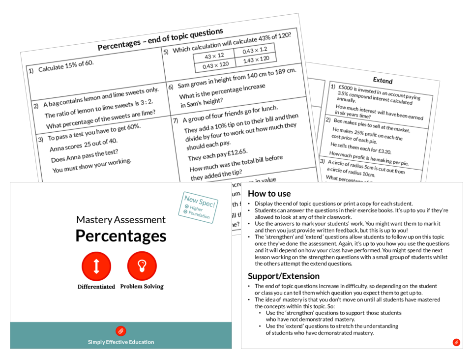Percentages Mastery Assessment