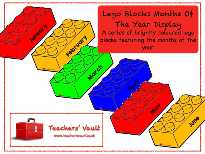 Lego Blocks Months Of The Year Display