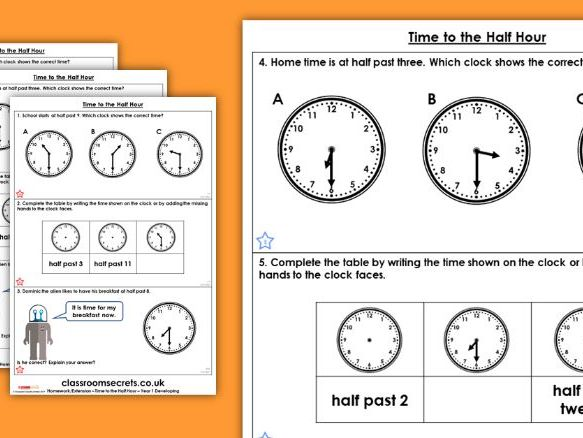Year 1 Time to the Half Hour Summer Block 6 Maths Homework Extension