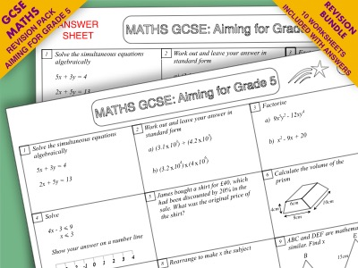 GCSE Maths Revision Pack: Aiming for Grade 5 Bundle