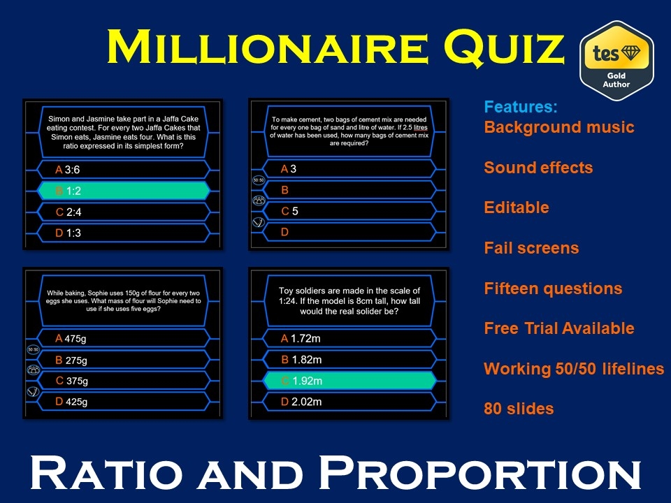 Millionaire Quiz! (Ratio and Proportion Edition)