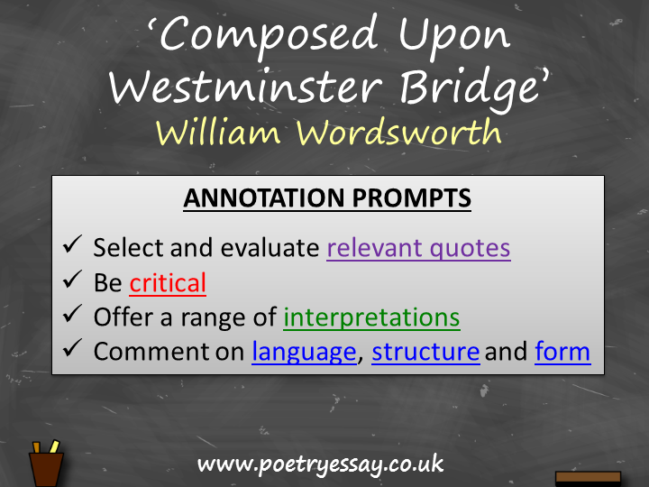 William Wordsworth – 'Composed Upon Westminster Bridge' – Annotation / Planning Table / Questions