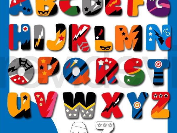 Superhero clip art - Superhero comic alphabet clipart