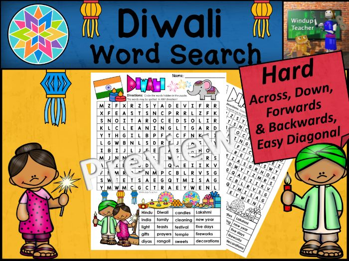 Diwali Word Search | HARD Puzzle | Ready to Go!