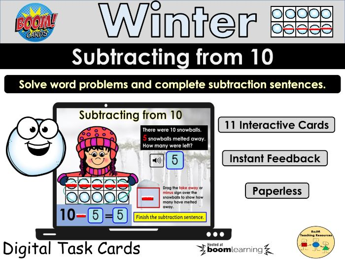 Subtraction from 10 Winter Snowballs BOOM Cards Home Distance Learning