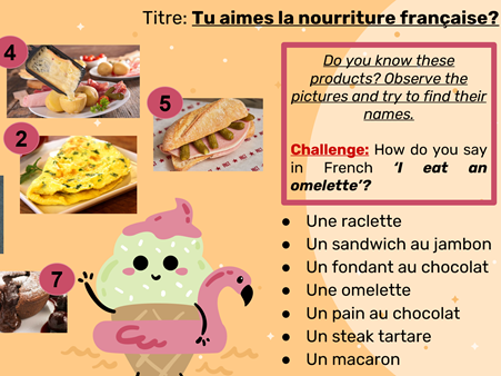 La nourriture (Year 7 or Year 8)