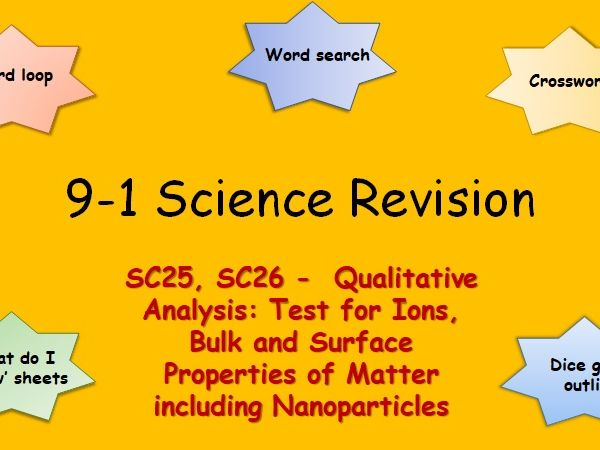 Edexcel SC25, SC26 Qualitative Analysis: Tests for Ions, Bulk and Surface Properties Revision 9-1