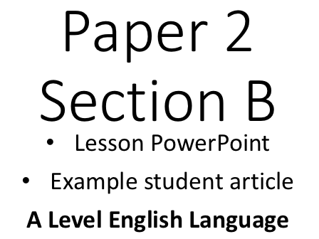 """Language Change and Diversity """"Lesson"""" with Example Student Opinion Piece 