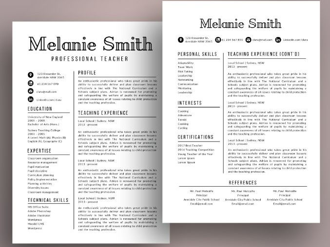 Modern teacher resume cv template for MS PowerPoint (pptx)