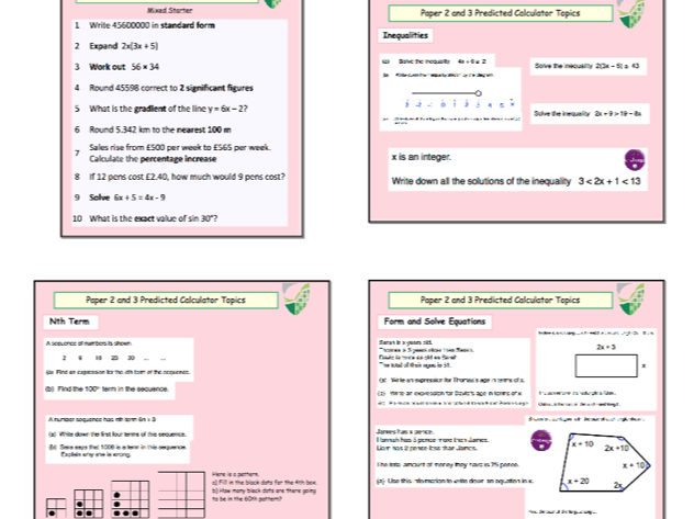Edexcel GCSE Foundation Maths 2019 Predicted paper 2 and 3 Revision Lesson(s)