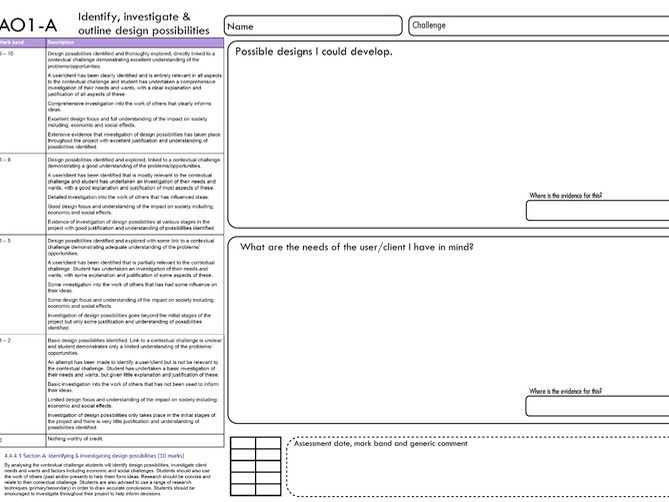 New AQA DT  1-9 AO1-A - IDENTIFY INVESTIGATE & OUTLINE DESIGN POSSIBILITIES (9pages)