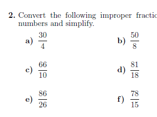 Improper fractions to mixed numbers worksheet (with solutions)