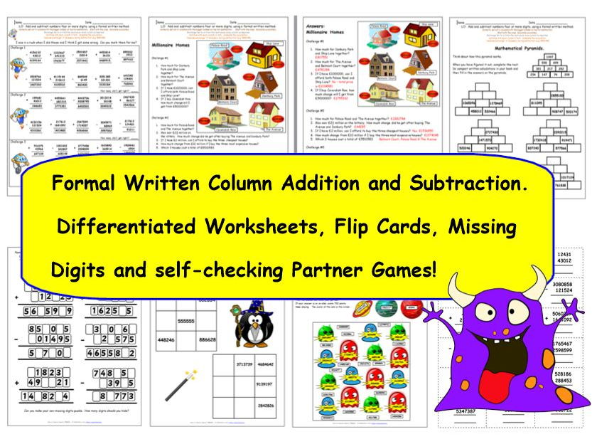 Y5 Formal Written Column Addition & Subtraction: 7 Activities ...