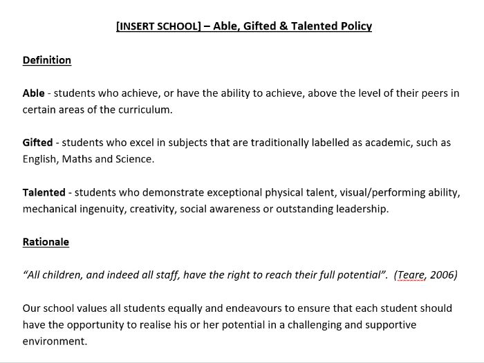 Able, Gifted and Talented Policy - Whole School