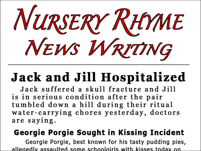 Journalism — Nursery Rhyme News Writing Activity
