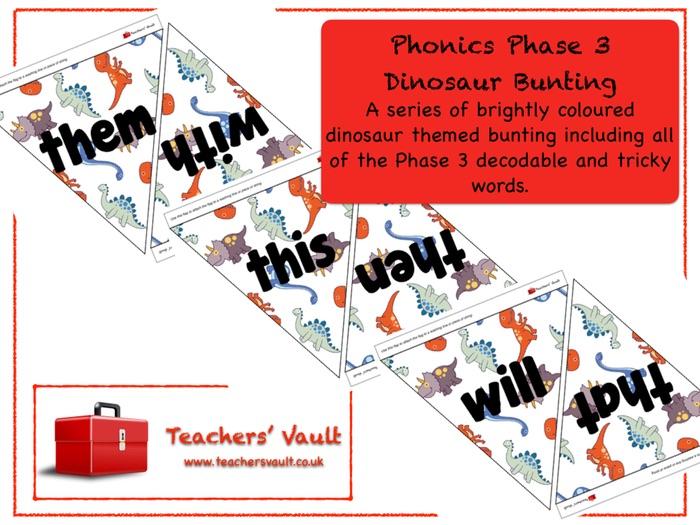 Phonics Phase 3 Dinosaur Bunting