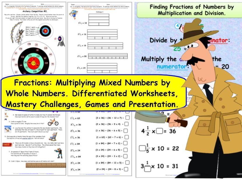 Y5 Fractions of  amounts and multiplying by mixed numbers - differentiated challenges & presentation