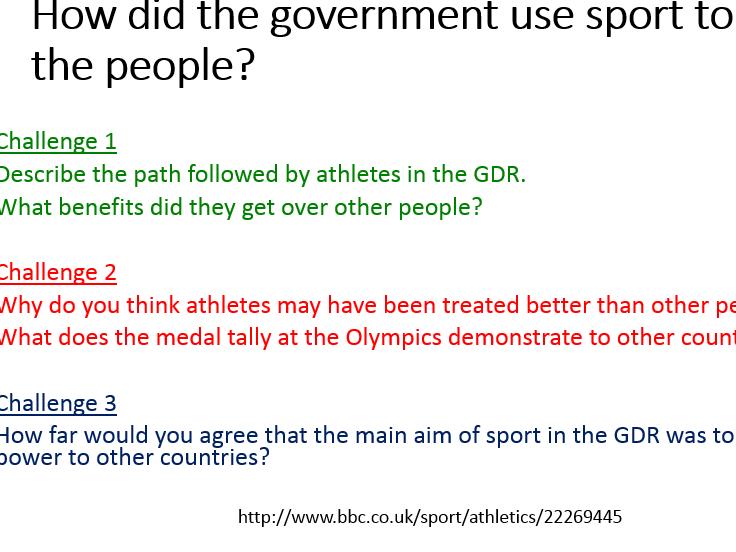 German Democratic Republic (GDR) - Lesson 12 - GDR and Sport – Edexcel