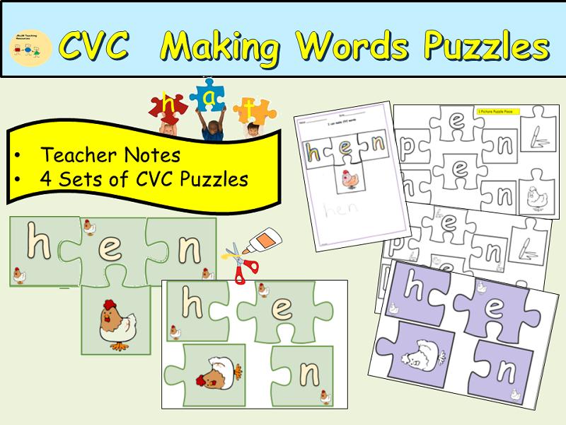 CVC/Word Families Making Words Jigsaw Puzzles Cut/Stick Activities Rhyming Lesson EYFS/KS1