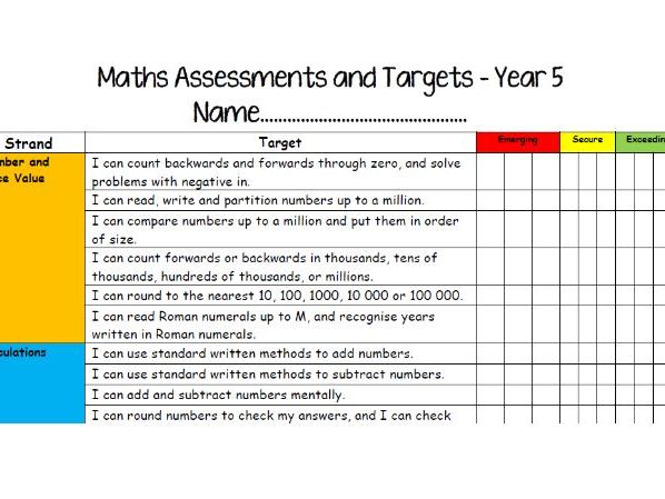 Year 5 Assessment Checklists - Emerging, Secure, Exceeding