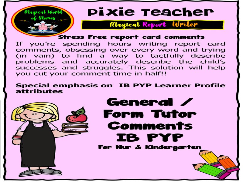 IB PYP Report Card Comments- Nursery and Kindergarten