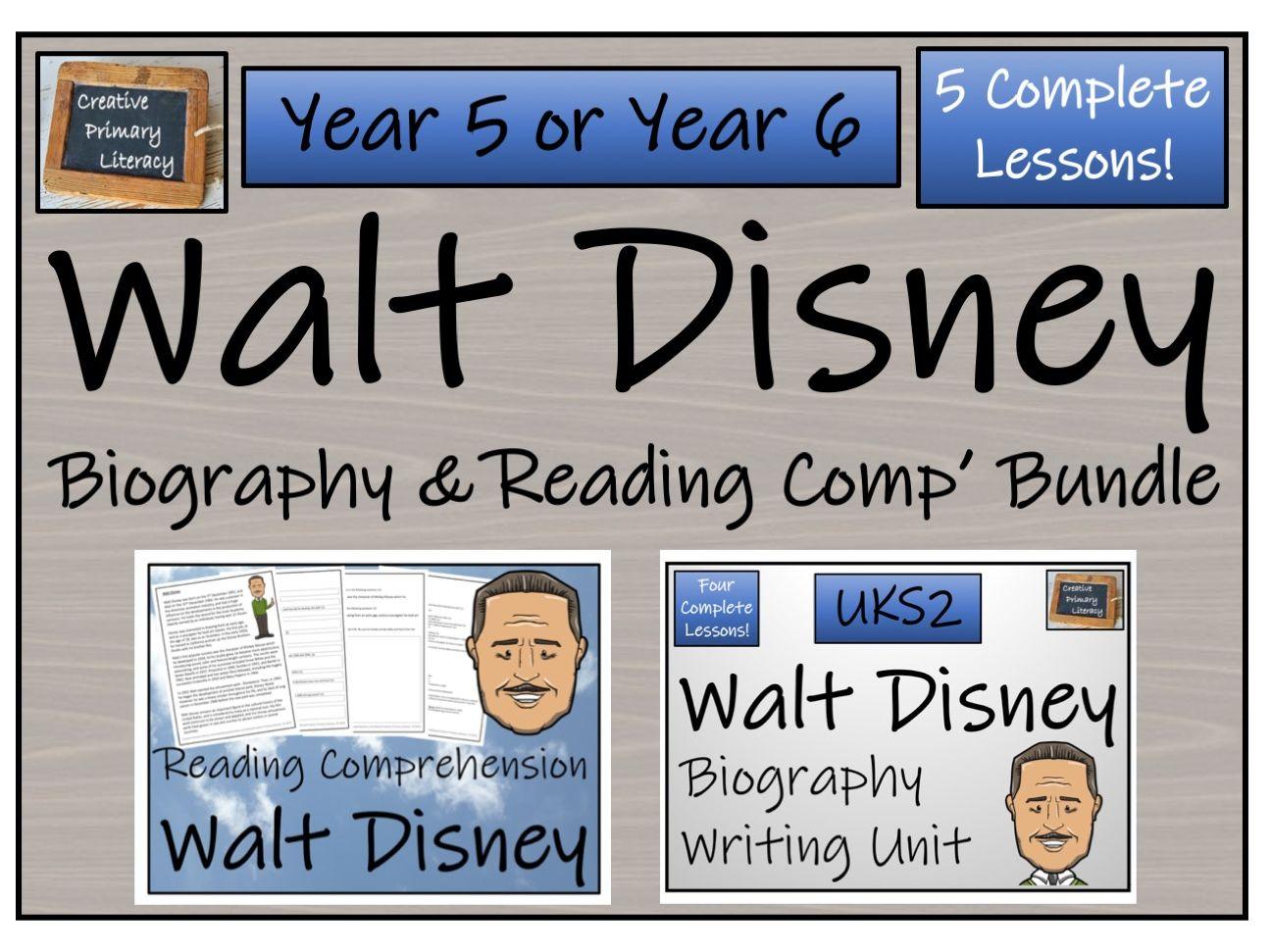UKS2 Literacy - Walt Disney Reading Comprehension & Biography Bundle