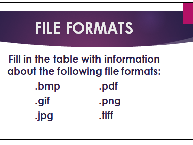 Image File Formats Activity & Worksheet