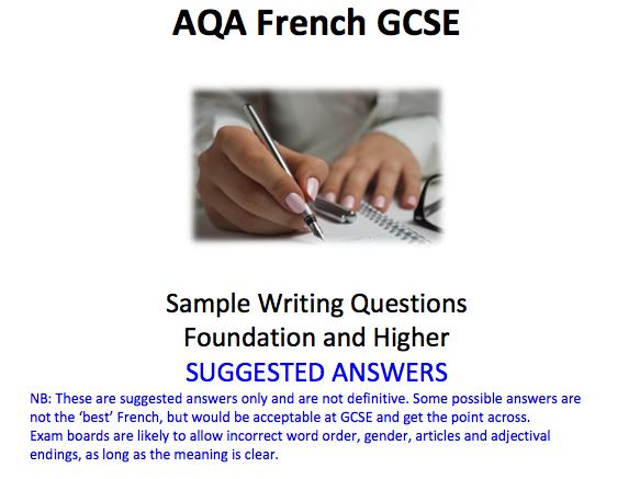 AQA French writing model answers