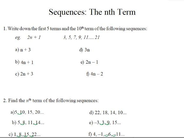 GCSE Maths Revision sequences and the nth term