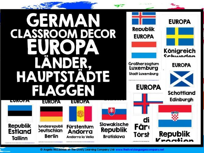 GERMAN CLASSROOM DECOR EUROPE COUNTRIES, CAPITAL CITIES & FLAGS