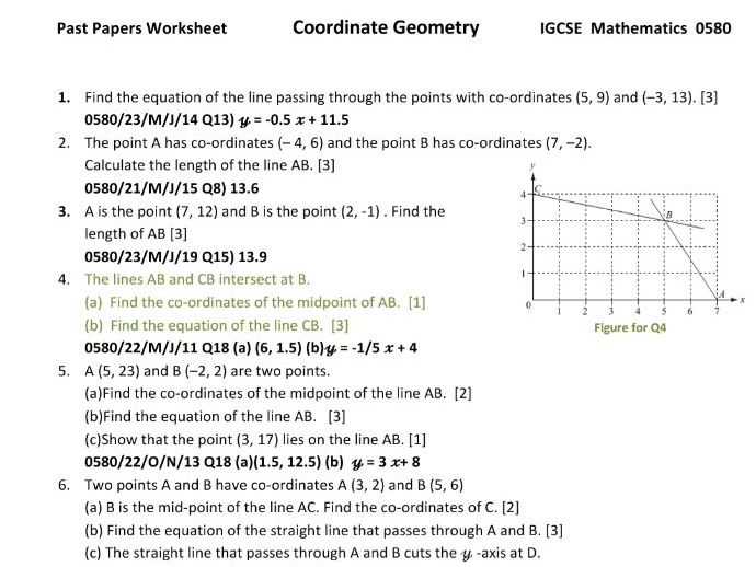 Coordinate Geometry Worksheet with answers from IGCSE Mathematics 0580