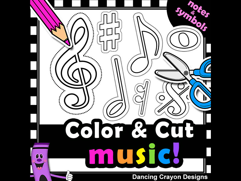 Clip Art Music Notes with Cutting Lines