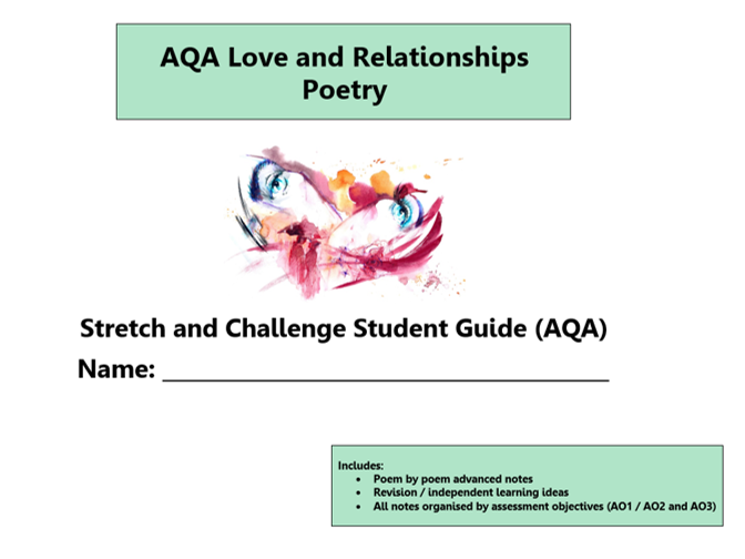 GCSE 9-1 Love and Relationship Poetry AQA Scheme of Work / Learning