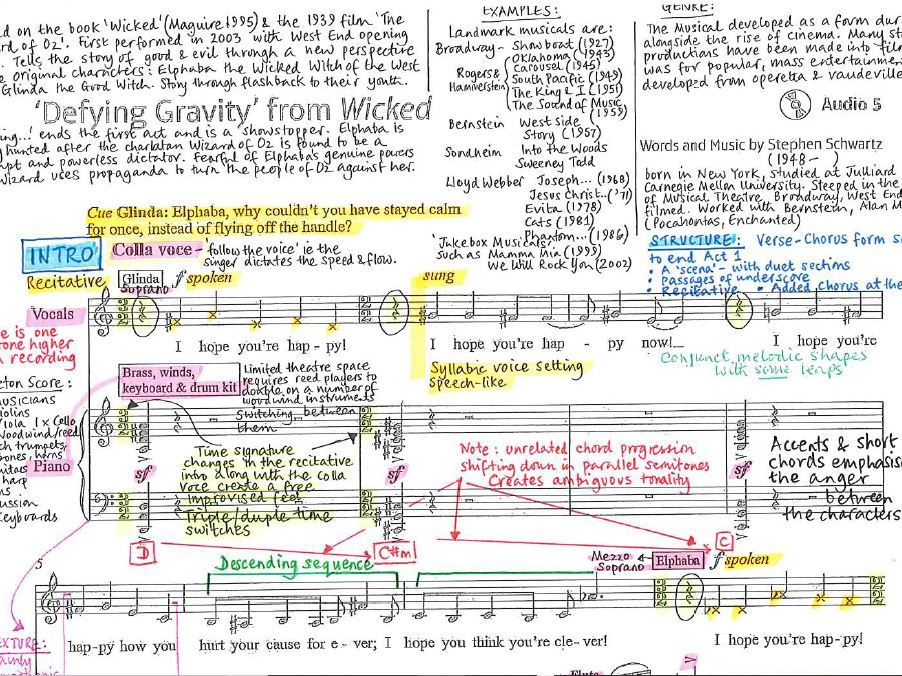 Defying Gravity from Wicked Schwartz - Detailed colour-coded score analysis - Edexcel GCSE Music 9-1