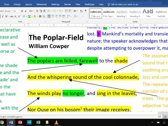 The Poplar-Field - Fully Annotated Poem CIE