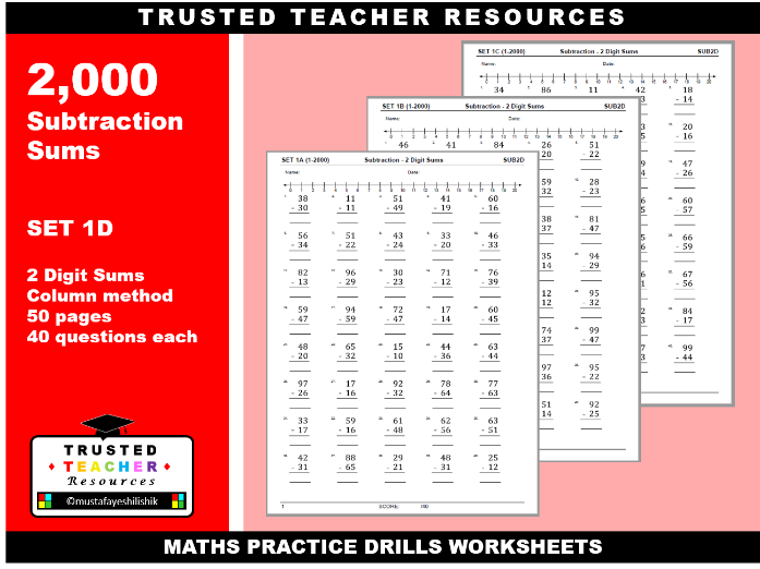 2000 Subtraction Sums- 2 Digit Sums (SET 1-D)