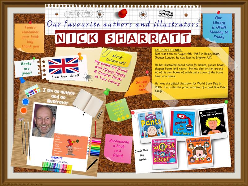 Library Poster - Nick Sharratt UK Author/Illustrator Of Picture Books