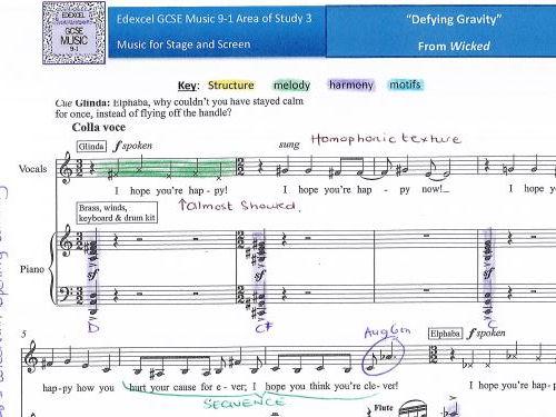 "GCSE 9-1 Music Edexcel ""Defying Gravity"" FULL SCORE ANALYSIS"