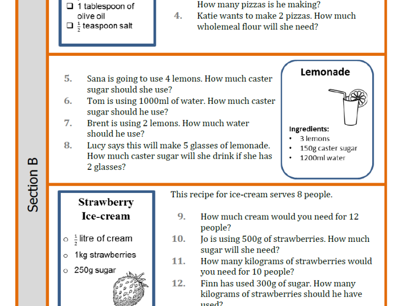 Year 6 Ratio and proportion recipe problem solving