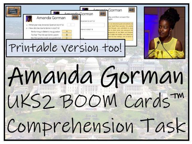 Amanda Gorman - UKS2 BOOM Cards™ Comprehension Activity