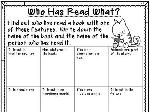 Who Has Read What?  World Book Day Activity