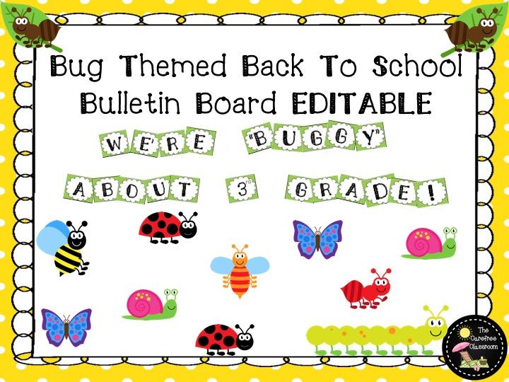 Bulletin Board Set EDITABLE: Bug Theme Back To School Set