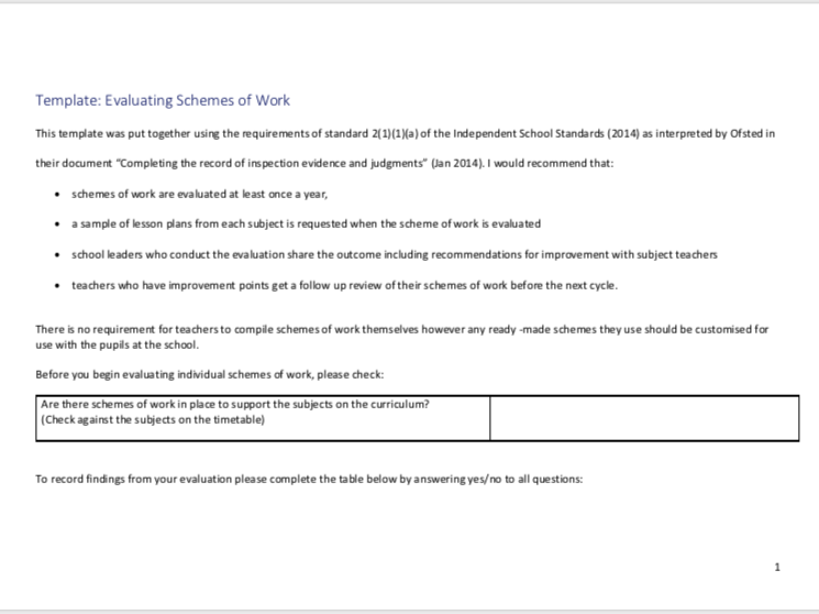 Scheme of Work Evaluation Template