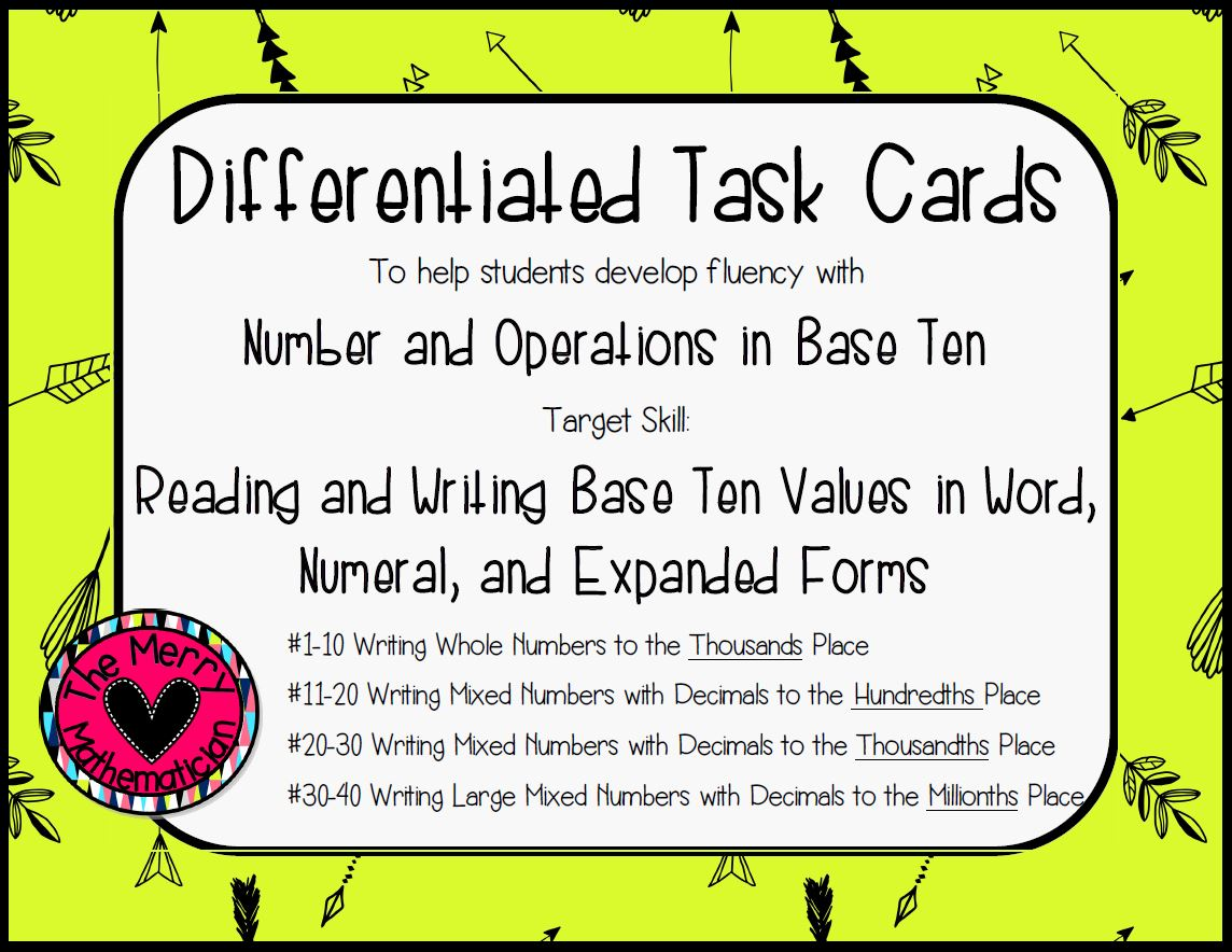Decimal Numbers In Standard Word And Expanded Form Differentiated