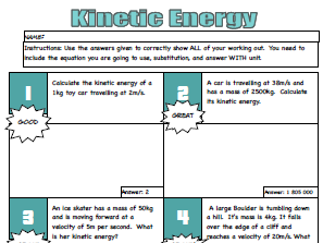 Kinetic Energy Calculations - Solve Me