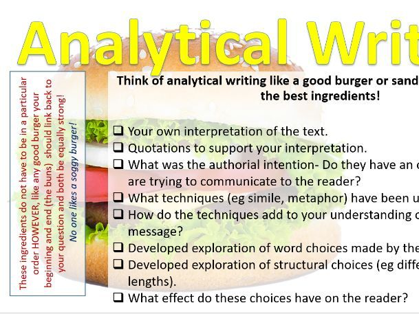 Analytical Writing Burger Checklist | Teaching Resources