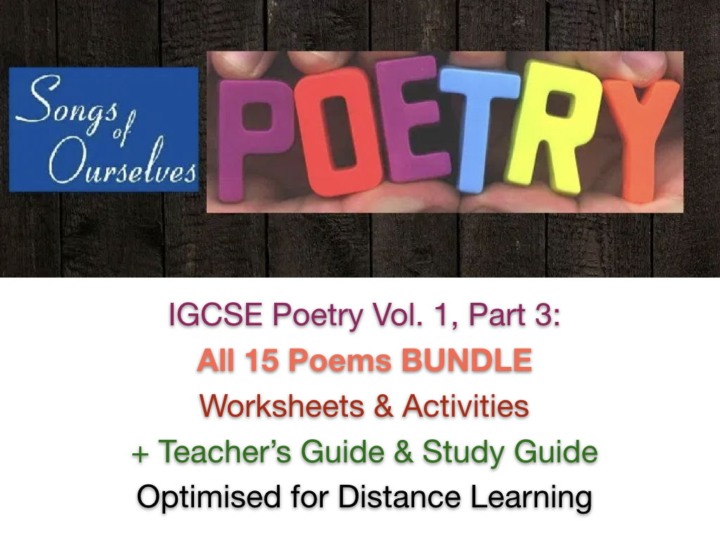 IGCSE Poetry TEACH + REVISE + EXAM PREP Bundle for Exams 2020 - 2022, Vol. 1, Part 3 + ANSWERS